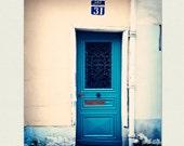 8x10 Paris Print - Peacock Blue Paris Door Art - No 31 - deep teal, living room decor, paris photography