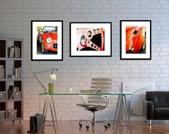 Retro Decor - Vintage Car Photography - The Sweet Ride  -  man cave, boys room, Route 66, orange, emerald green