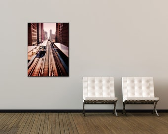 Chicago Train Photography - Canvas Gallery Wrap - Jackson - chicago art, train home decor, subway wall art, Chicago L wall decor, CTA Train
