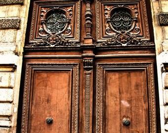 Door in Paris / brown wood / Paris Art Print / Fine Art Photography / Montmartre, Paris, France / architecture photo / neutral wall decor