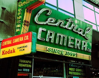 Central Camera - Chicago photography, retro wall art, emerald art, vintage sign home decor, yellow, red, green,