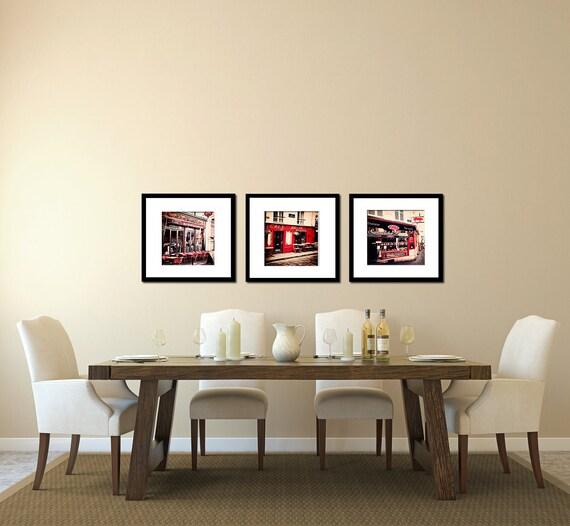 Paris Photograph - Montmartre Cafe, Parisian home decor - crimson red, cafe wall art, beige, Paris print, wall decor, paris print set