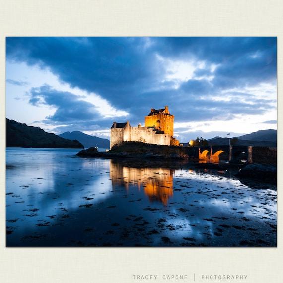 Eilean Donan Castle - Scottish Castle Photograph, print  Scotland home decor, wall art, indigo blue, citron, mystical, dusk