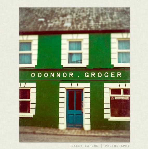 Ireland Photograph - teal and green art, retro wall decor-   O'Connors - emerald green, kitchen wall art, foyer decor, 8x10 print