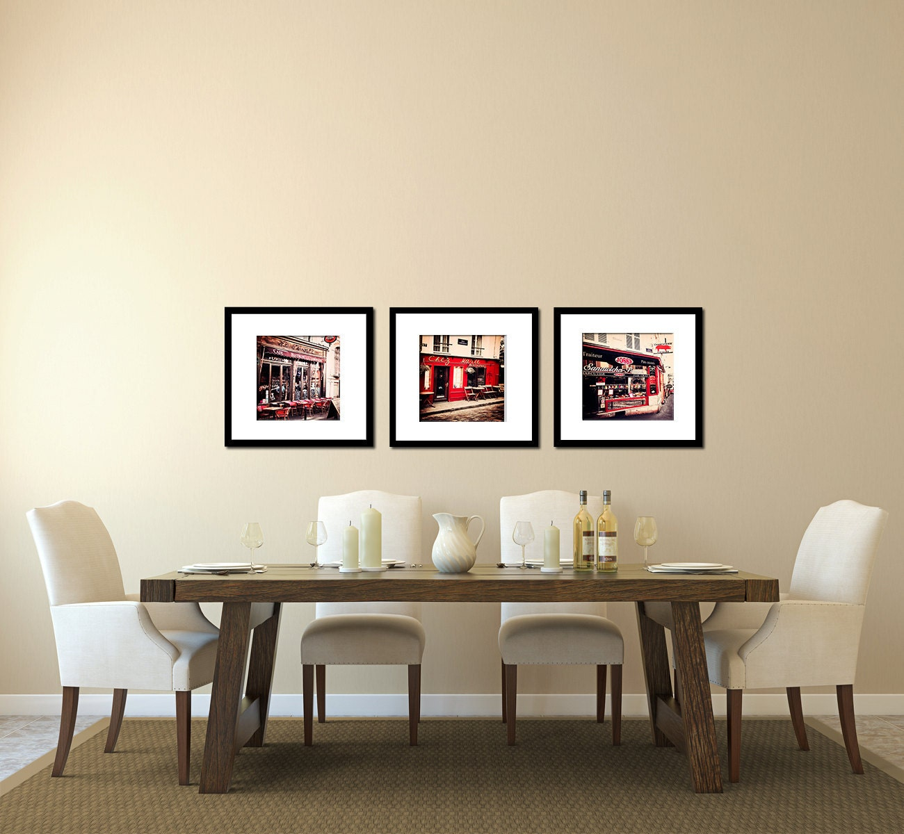 paris photograph - montmartre cafe, parisian home decor - crimson