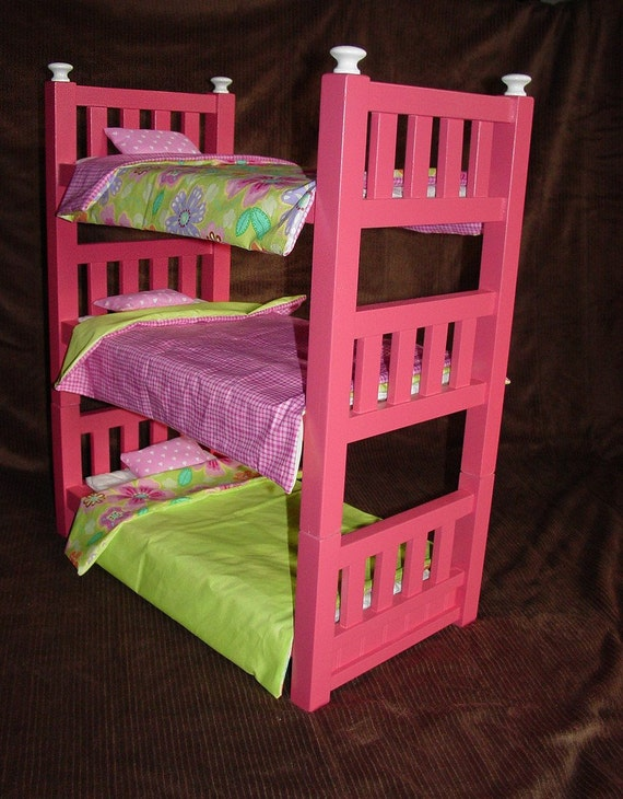 Handmade Wooden Triple Bunk Beds For 18 Inch Dolls