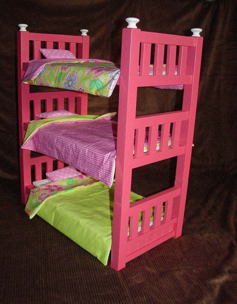Handmade Wooden Triple Bunk Beds for 18 inch Dolls by lauratabilo