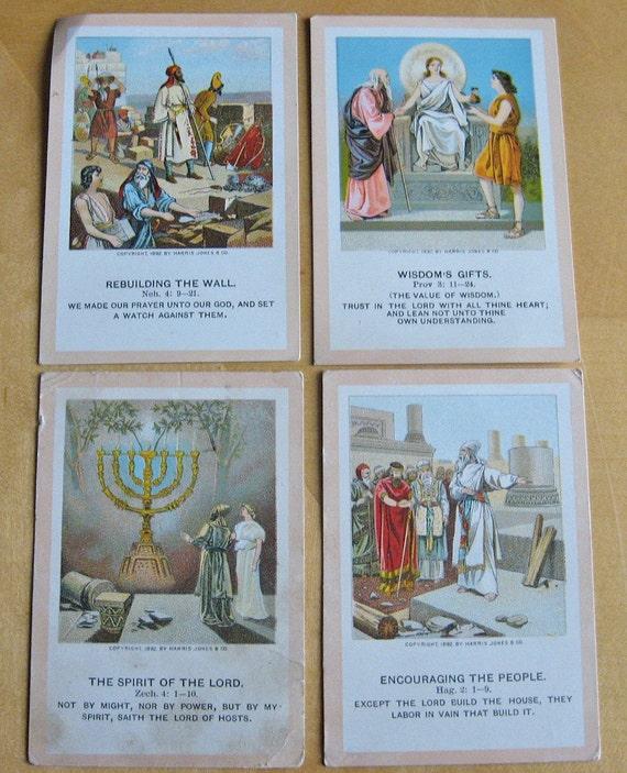 Vintage\/Antique Little Pilgrim Lesson Picture Cards - Religious, Christian