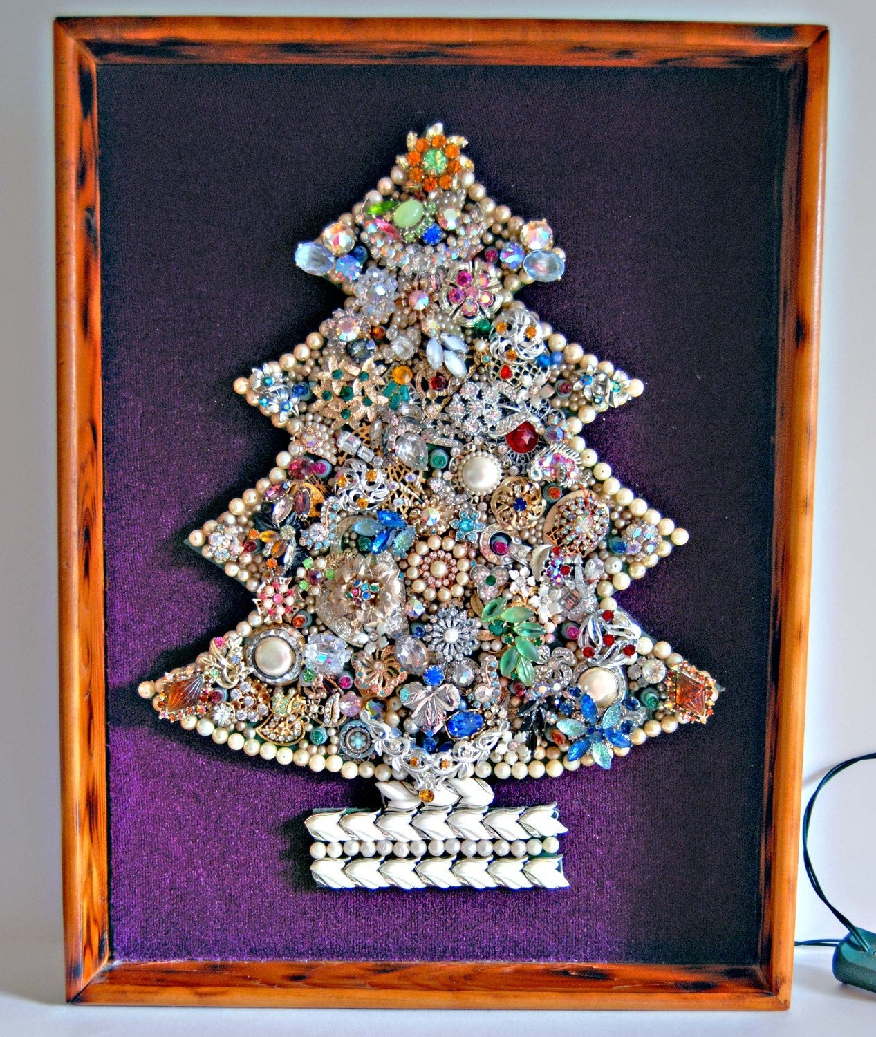 Vintage Christmas Tree Wall Hanging Made Of Vintage Jewelry