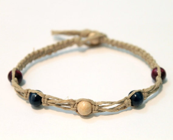 CLEARANCE Natural Hemp Bracelet with Blue and Purple Wood Beads