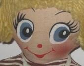 Vintage Cloth Doll with Yellow Yarn Hair