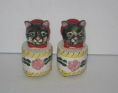 Vintage Cat in the Box Voice Salt and Pepper Shakers