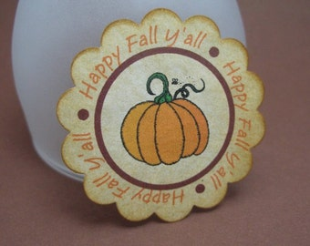 PUMPKIN Fall / Autumn tags - scalloped circles - by Just Scraps N Things