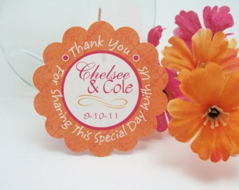 CUSTOM wedding favor tags - Hot pink & orange scalloped circles by Just Scraps N Things