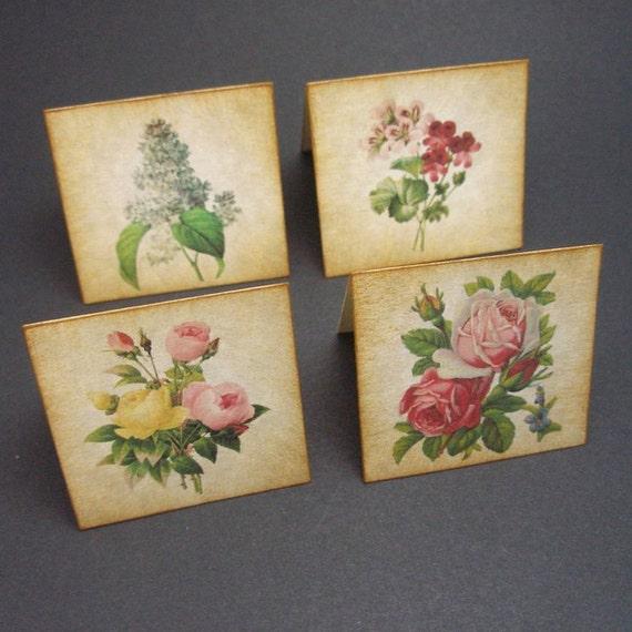Mini cards VINTAGE flowers  - set of 20 by Just Scraps N Things