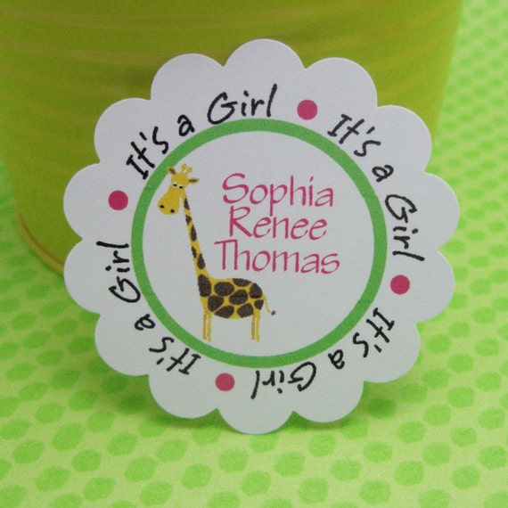 Giraffe baby shower tags -by Just Scraps N Things