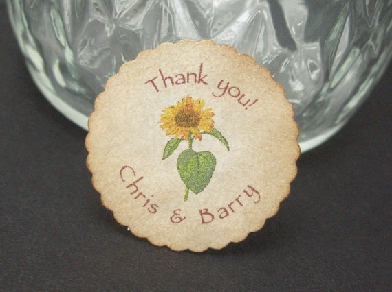 Mini round Sunflower tags  - set of 60 by Just Scraps N Things