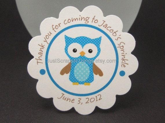Owl favor tags - blue - by Just Scraps N Things
