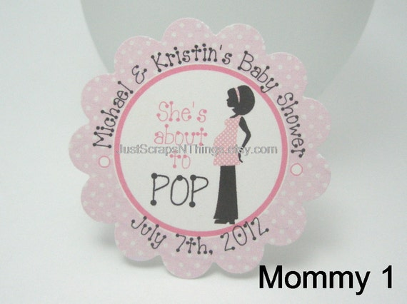 She's about to POP - girl baby shower tags -  by Just Scraps N Things