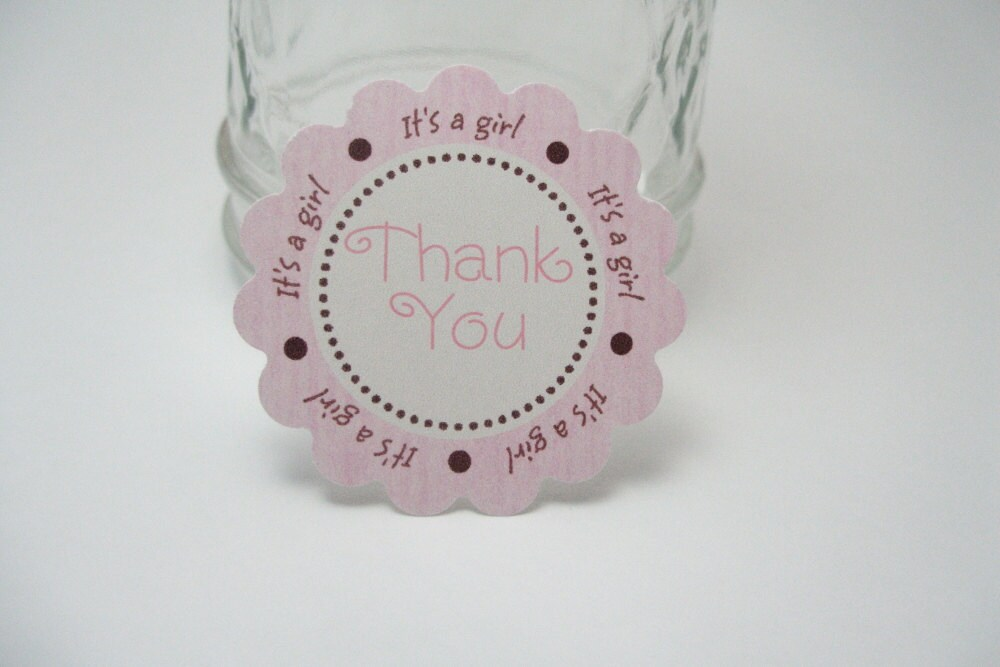 pink and brown thank you baby shower tags