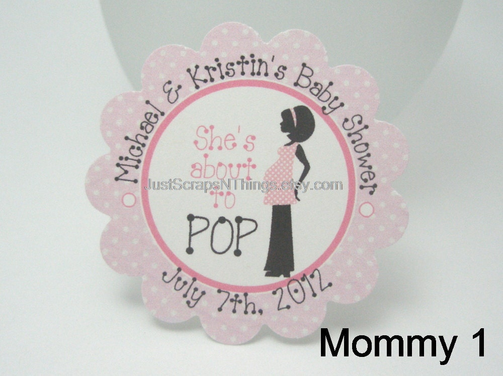 she 39 s about to pop girl baby shower stickers reserved