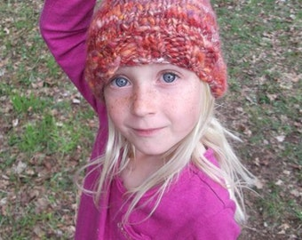 Reserved Listing-Handknit Wooly Elven Hat - Wild Rose