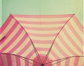 Pink and White Umbrella