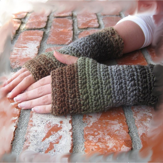 Stephanie Crochet Fingerless Gloves or Mittens in Oak Tree Version 3