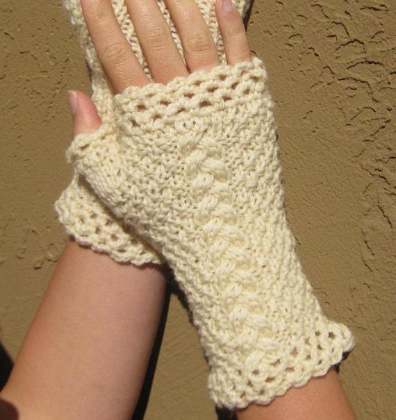 Katherine Fingerless Gloves in Natural Color Wool