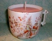 RESERVED FOR LILY-------Golden Rose Soywax Candle in Berry and Flower Cup