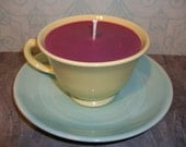 Lavender Soywax Candle in Yellow Cup with Mint Green Saucer