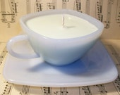 Meadow Soywax Candle in Blue Squared Tea Cup with Saucer