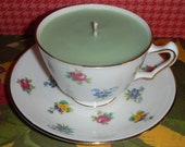 Mistletoe Soywax Candle in Floral Tea Cup