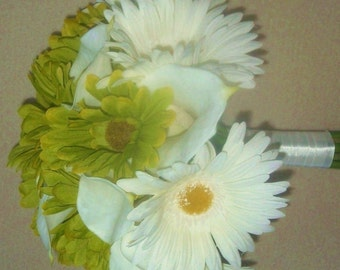 Spring Green White Gerberia Daisies Calla Lilies Real Touch Latex Silk  Wedding Bridal Bouquet