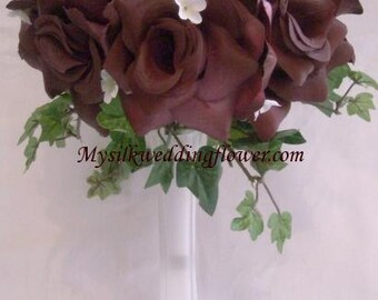 Plum / Eggplant Roses silk Flower Floral Arrangement / Centerpiece