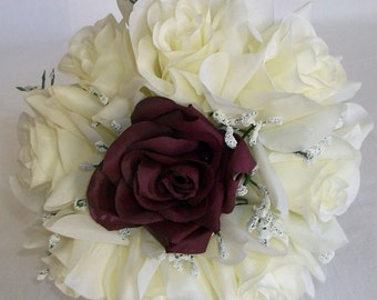 Ivory, Plum, Roses, Silk, Wedding, Bridal, Bridesmaids, Toss, Mini, Flower girl,Bouquet