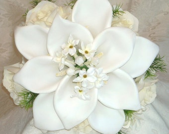 Off White Cream Ivory Roses  Real touch Calla lily Silk Wedding Bridal Bouquet