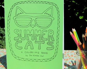 Summer Cats - A Coloring Book