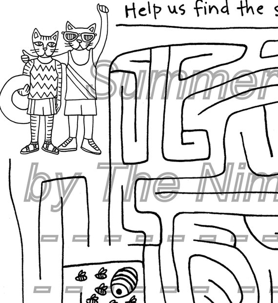 Warriors Book 3 Forest Of Secrets Pdf: Printable Coloring Page Summer Cats Maze Downloadable PDF