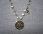 Silver Pearl Turtle Heart Charm -Sink or Swim Necklace