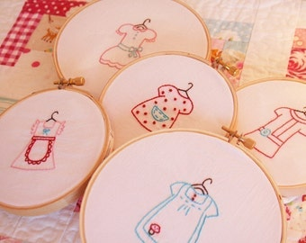 Dresses Embroidery PATTERN - Set of 5