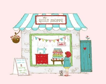 Window Shopping Illustration - The Quilt Shoppe Mini Series