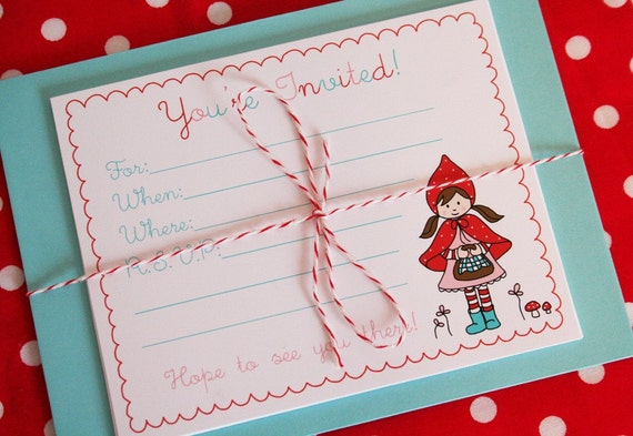 Little Red Riding Hood Party Invitations - Pack of 12