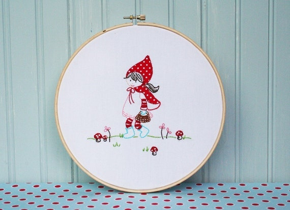 Little Red Skips Embroidery PATTERN