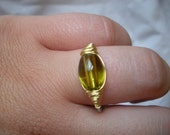 Green Glass Oblong Ring with Wire Wrapping