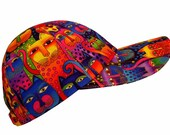 Kaleidoscope Cats - Multi-Color & Gold Ladies Baseball Cap Hat made with Laurel Burch Bright Rainbow Fanciful Feline fabric by Calico Caps