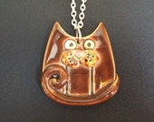 Brown ceramic cat pendant