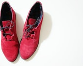 Vintage 80s Super Red Suede Flats Ankle Boots Size 8