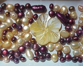 burgundy  yellow   fw pearls bead mix