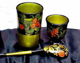3pc Gilded  Wood  KHOKHLOMA   Set 2 cups Spoon Vintage Russian Folk Art